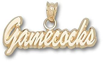South Carolina Gamecocks Script Gamecocks Pendant - 14KT Gold Jewelry by Logo Art