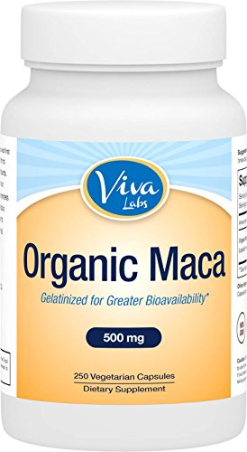 Viva Labs Organic Maca Root, 500mg, 250 Veggie Capsules, Gelatinized for Enhanced Bioavailability (Cb 1 Weight Gainer Pills compare prices)