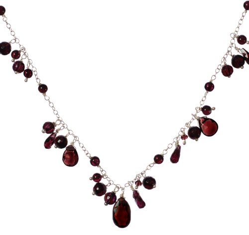 Sterling Silver Garnet Necklace, 17