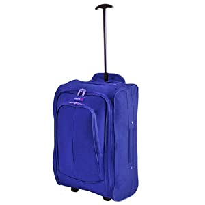 More4bagz Super Lightweight Cabin Approved Hand Luggage Travel Holdall Wheeled Suitcase Bag Fits Ryanair Easyjet And Many More - 14k - 41 Litres 1 Peice Blue
