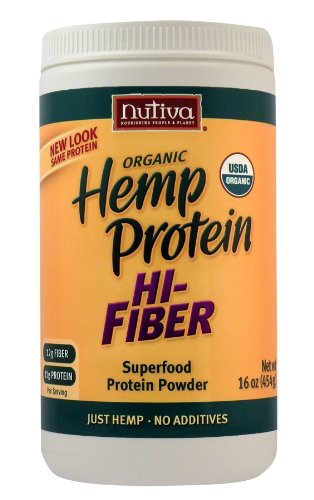 Nutiva Hemp Protein Hi Fiber, 16-Ounce Jars (Pack of 2)