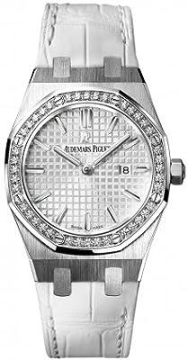 Audemars Piguet Royal Oak Silver Dial White Alligator Leather Watch 67651STZZD011CR01