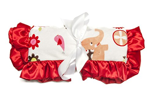 Minky Baby Blanket Trees & Elephants Decorative Ultra-Soft Minky Dots, 36IN X 30IN, Red