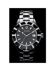 Accutron by Bulova Mirador Ceramic & Steel Diamond Mens Watch Black Dial Calendar 65E100