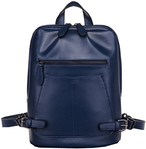 Heshe 2014 New Fashion Genuine Leather Women's Backpack Handbag Hobo and Messager Bag (Navy Blue)