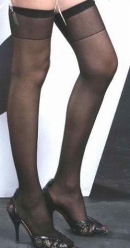 Ladies Black Plain Top Sheer Stockings (UK 6-10) - Clearance