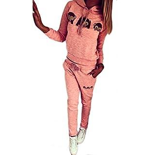 Sannysis Frauen-Karikatur-Affe-Langarm Trainingsanzug Sweatshirt Sport-Klagen-Set (EU 36(Asia M), Rosa)