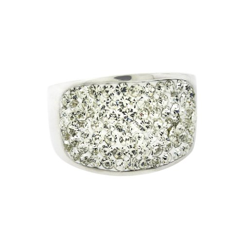Ladies Stainless Steel Silver Tone White Crystal Ring