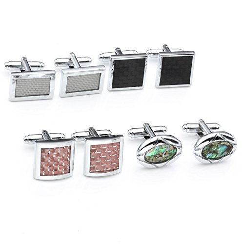 JOVIVI® 4Pairs Stainless Steel Mens Classic Modern Ornate Pattern Style Dress Shirt Cufflinks Mix Design Set (Red)