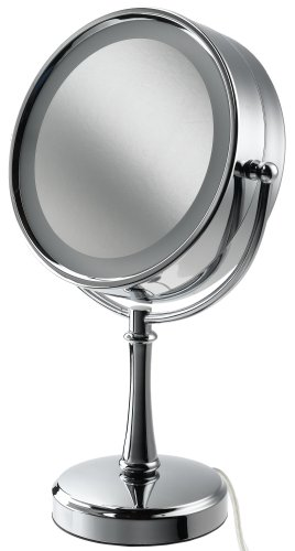 Conair BE87CR Touch Control Lighted Makeup Mirror, Polished Chrome. Polished chrome touch control lighted makeup mirror with chrome finish.