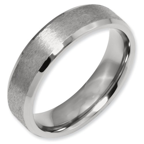 Titanium Beveled Edge 6mm Satin and Polished Band Ring Size 13.5 Real Goldia Designer Perfect Jewelry Gift for Christmas