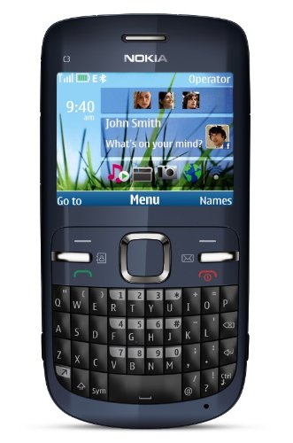 Nokia C3-00 Unlocked Cell Phone with QWERTY, Dedicated E-mail Key, 2 MP Camera, Media Player, WLAN, and MicroSD Slot–U.S. Version with Warranty (Slate)