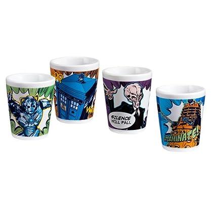 Vandor 16018 4-Piece Doctor Who Ceramic Glasses Set, Mini, Multicolored