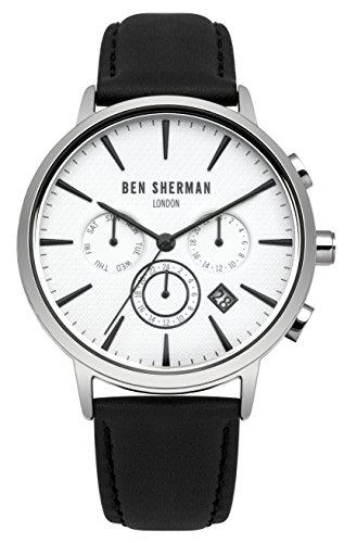De los hombres de Ben Sherman de cuarzo reloj de pulsera para mujer con esfera blanca y de color negro de la correa de cuero WB028W