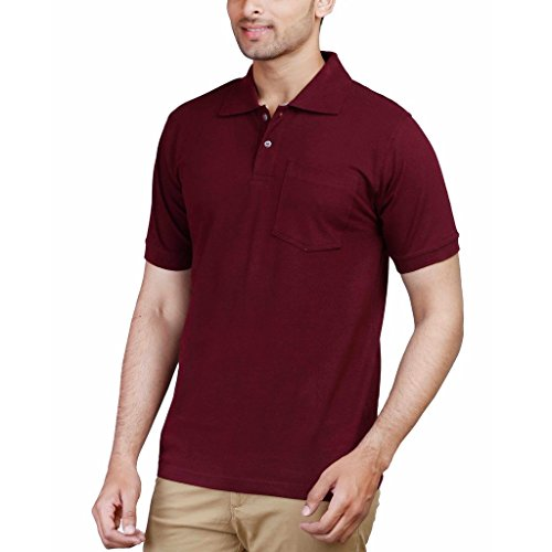 60% OFF on Fleximaa Men s Cotton Polo Collar T-Shirts With Pocket - Maroon  Color on Amazon  5179b2f564e0
