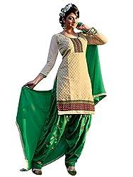 Varanga Beige Embroidered patiyala suit with dupatta KFPRN7012