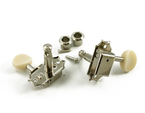 Kluson Sd9005Mnp Plastic Button Tuners, 3 Per Side, Gibson Style, Nickel/White