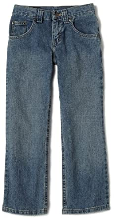 Lee Big Boys' Relaxed Straight Leg Jean,Worn Handsand,10  Husky