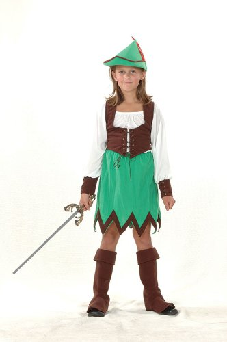 Bristol Novelty Green/Brown Robin Hood Girl Deluxe Costume Girls Medium 7-9 Yrs