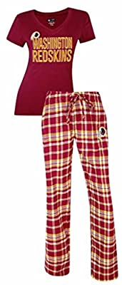 Washington Redskins NFL Women's Shirt and Pajama Pants Flannel PJ Sleep Set
