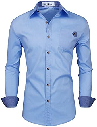 Tom's Ware Mens Trendy Slim Fit Contrasted Pocket Flap Dress Shirt TWNMS311S-BLUE- XS/S