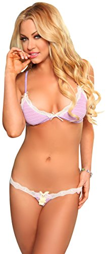3WISHES Women's Bunny Surprise Lingerie Holiday Lingerie Set