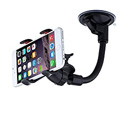 Car Mount,URPOWER Easy-To-Use Universal Long Arm/neck 360 °Rotation Windshield Phone Holder for Cell Phones iPhone 6,Samsung S6 Edge/S6/S5,Double Clip Car Mount for Most Phones and GPS Navigation