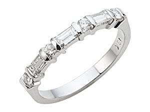 Karina B (tm) Baguette Diamonds Band in Platinum 950 Size 6.5