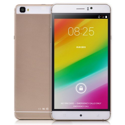 "6"" Inch Unlocked Android 4.4.2 MTK6572 Dual Core Smartphone 598.0~1203.0MHz RAM 512MB ROM 4GB Unlocked Dual SIM WCDMA GPS QHD IPS 5inch Cell Phones (Gold)"