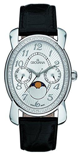 GROVANA - 4406.7532 - Montre Mixte - Quartz - Analogique - moon age display - Bracelet Cuir noir