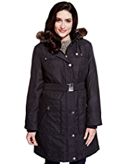 Per Una Hooded Faux Fur Padded Belted Coat with Stormwear™