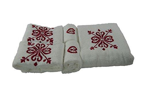 Set di 5 asciugamani in spunga di cotone Completo 5 pz. Giglio Bianco