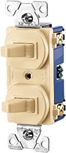 Cooper Wiring Devices 275V-BOX 15-Amp 120/277-volt Commercial Grade Combination Single Pole Toggle Switch and 3-Way Switch, Ivory Color