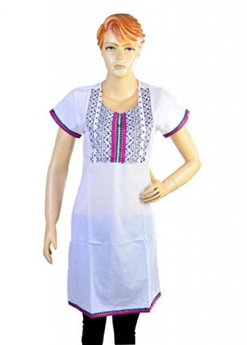 Kyaara Women Cotton embroidered white Kurti