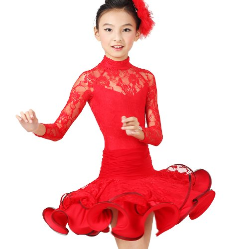 Msmushroom Girl's Latin Dance Costume for Practise Dancing Dress Pink/blue/red S/m/l/xl/xxl 052