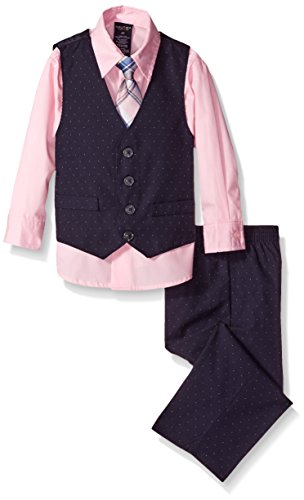 Nautica Little Boys' Pindot Vest Set, Pink Candy, 4T