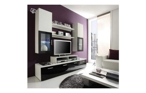 meubles tv meuble tv design laqu high gloss clairage led vegas. Black Bedroom Furniture Sets. Home Design Ideas