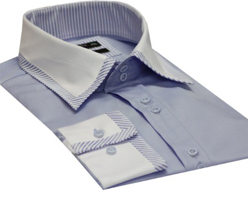 Italian Design Men's Formal Casual Shirts Designed Contrast Collar Blue Colour