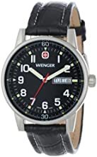 "Wenger Men's 70164 ""Commando"" Stainless Steel Watch with Black Leather Strap"