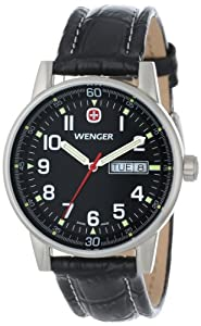 Wenger Men's 70164 Commando Day Date XL Black Dial Black Leather Strap Watch