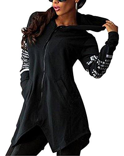 Minetom Sweatshirt Maniche Lunghe Con Cappuccio Donna Cerniera Hoody Giacca Bordo Irregolare Felpe Nero IT 42