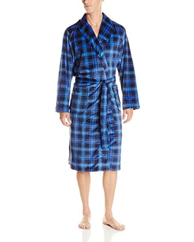 Geoffrey Beene Men's Blue Plaid Matte Silky Fleece Robe