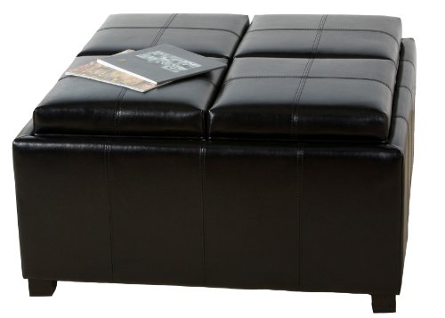 BEST Dartmouth Leather Tray Ottoman, Black