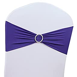 50 PCS Stretch Wedding Chair Cover Band With Buckle Wedding Party Decoration,Dark Purple