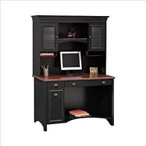 Bush Furniture Stanford Wood Computer Desk With Hutch in Black