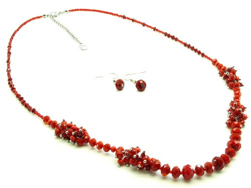 NECKLACE AND EARRING SET GLASS BEAD SEED BEAD RED Fashion Jewelry Costume Jewelry fashion accessory Beautiful Charms