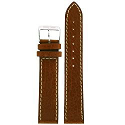 Original Swiss Army Band Leather Brown White Stitching 19 millimeter
