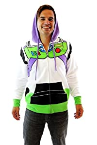 Toy Story Buzz Lightyear Astronaut Adult Costume Hoodie Sweatshirt (Adult Medium)