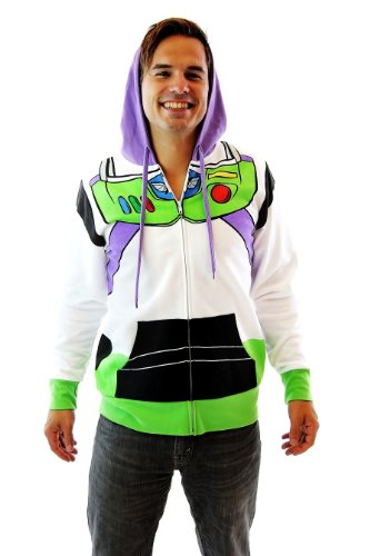 Toy Story Buzz Lightyear Astronaut Adult Costume Hoodie Zip-Up Sweatshirt