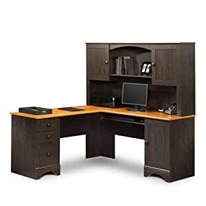 Sauder Reversible L Desk With Hutch With Lightly Distressed Finish From The Harbor